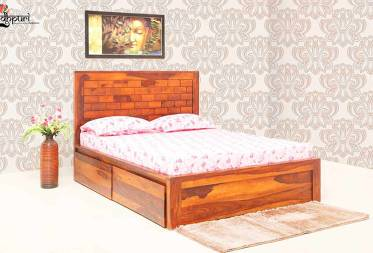 Rivera Queen Size Bed with Duel Drawer Storage